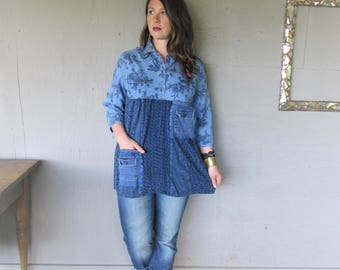 upcycled recycled Bohemian top reclaimed upcycled clothing denim tunic Large X L shirt Wearable art Boho fun clothes LillieNoraDryGoods