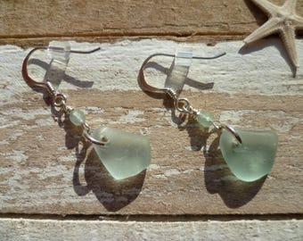 sea glass earrings - sea glass jewellery - pale aqua