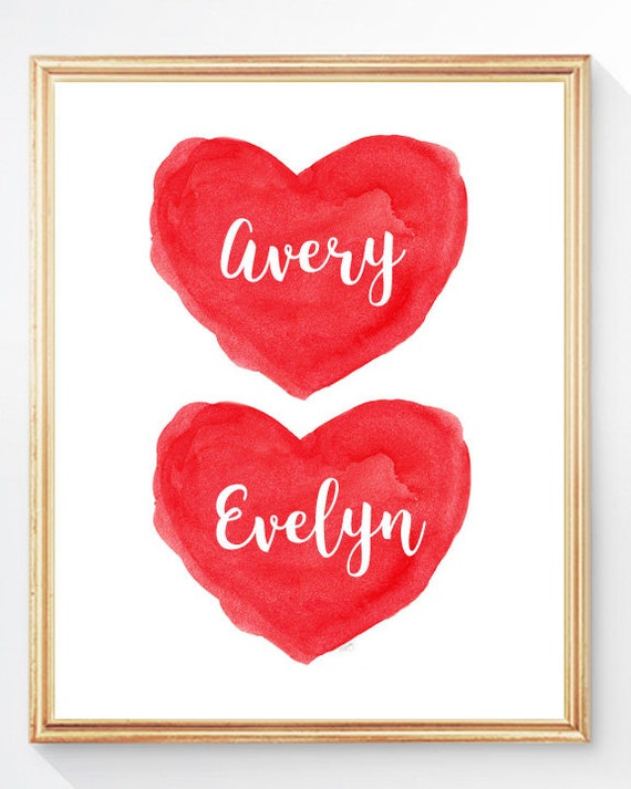 Christmas Gift for Twins Nursery; 8x10 Personalized Red Heart Print