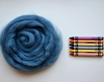ROMNEY WOOL ROVING / Old Denim Blue 1 ounce / romney roving for spinning, needle felting, wet felting, weaving, tapestry, doll hair