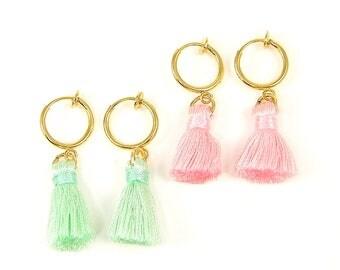 Pink Tassel Clip Earrings, Mint Green Gold Hoop Clip on Earrings, Aqua Fringe Spring Hoop Clip Earrings |EB2-35