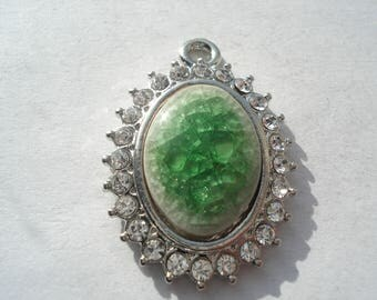 32mm Flat Oval Alloy Porcelain Pendant, Platinum Pendant with Rhinestones, Green Pendant, C377