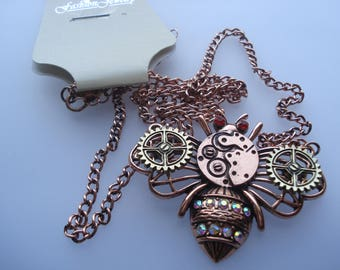 New Fashion Steampunk Necklace, Curb Chain Antique Copper Necklace, Bees with Gear Connector and MultiColour Rhinestone, Half RRP!! C576