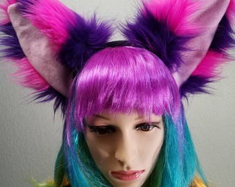 Discount! Faux Fur Cheshire Cat Purple Pink Costume Ears Ready To Ship