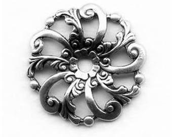 Swirls and Floral Filigree, 24mm, Beautiful Sterling Silver Plated  Dapt in the Center for a Stone or Cab, Swirls, Florals, Leaves, X2