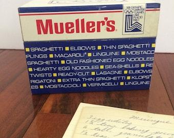 Mueller's Pasta metal recipe box, 3 x 5 recipe box, vintage pasta