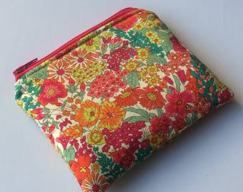 Handmade Liberty of London 'Margaret Annie' design Tana Lawn coin purse/card pouch - made in Cornwall