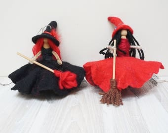 Good luck kitchen witch doll handmade hanging ornament felt dress hat Halloween hand red black waldorf fairy fay small flower wedding