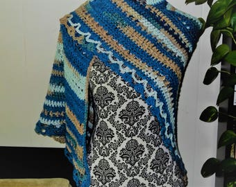 Handmade Lacy Triangle Woman's Shawl Summer Wedding Apparel, Date Night Wrap Any Occasion Gift Blue, Green and Beige Glamorous Elegant