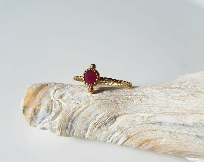 Featured listing image: Unique 14k gold and natural ruby Bindi  ring