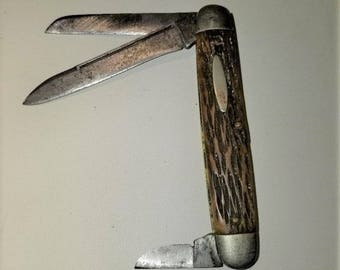 Vintage Schrade Walden NY Jigged Bone Handle 3 Blade Pocket Knife