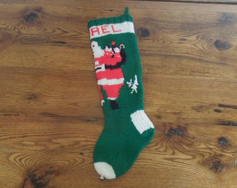 Vintage Hand Knit Christmas Stocking Personalized Rachael
