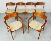 set 6 mid century Danish modern teak oatmeal tweed dining chairs by P.E. Jorgensen