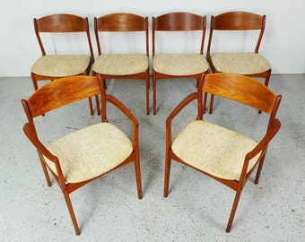 set 6 mid century Danish modern teak oatmeal tweed dining chairs by P.E. Jorgensen