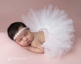 white tutu lace set, flower wrap, flower headband, baby girls newborn photography, photo prop, baby girls, headband, tutu, lace headband