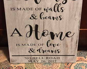 Home sign for new home owners 16x20
