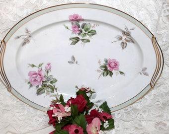 "Vintage Noritake 13"" Oval Serving Platter -  Priscilla Pattern - Pink Roses w/Green Band - Circa 1950s - Porcelain"