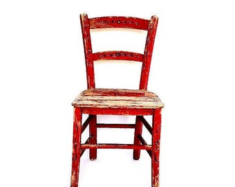 SALE Antique sicilian wood children's chair, sicilian folk art red chair ,italian rustic style handmade painted flowers primitive chair