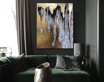 """Black White Painting, Abstract large black gold Painting, Black Gold wall art, Abstract gold, 40"""" Large Painting, Gold Painting, gold leaf"""