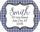 Navy Gingham Preppy Round Address Labels Stickers for use as Gift Tags, Party Favors, Address Labels & Class Parties