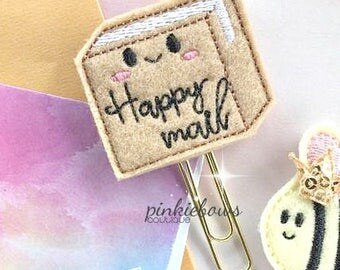 Brown/Gold/Happy Mail Package/Felt Applique Paper Clip/Planner Clip/Bookmark/Journal Marker