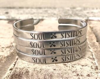 Soul Sisters Cuff, Best Friend Jewelry, BFF Bracelet, Soul Sisters Bracelet, Gift for Bridesmaids, Gift for Best Friend, Soul Sister Jewelry