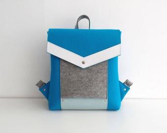 Blue Gray White Wool Felt Genuine Leather Backpack