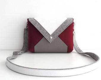 Wine Gray White Wool Felt Genuine Leather Crossbody Bag