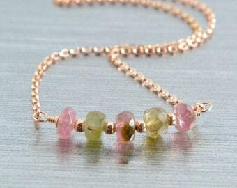 Tourmaline Bar Necklace, Rose Gold Jewelry, Handmade, 14K Rose Gold Filled, Minimalist, Pink and Green Gemstones, Watermelon Tourmaline
