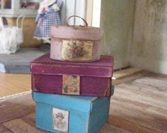 Dolls house shabby chic boxes x3