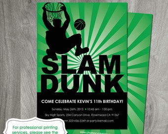 Basketball Birthday Invitation, Sports Party Theme, Personalized, Diy Party Printable, Digital File, Slam Dunk, Boy Birthday, Double Sided