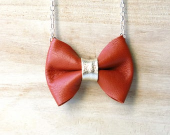 Necklace, Bow, Leather, Rust, Gold