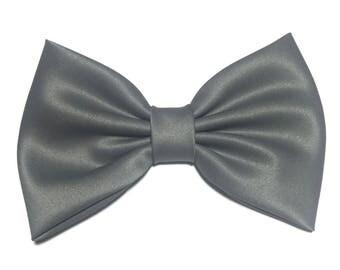 Grey Hair Bow, Satin Hair Bow Clip, Bows For Women, Kawaii Bows, Handmade Bow, Satin Fabric Bow, Lolita, Big Bow, Baby Girl Bow, Grey ST021