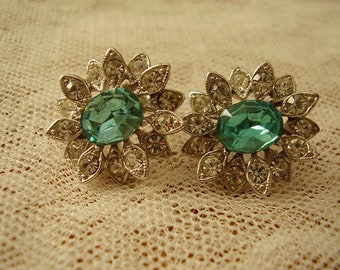 Vintage Screwback RHINESTONE EARRINGS/CORO