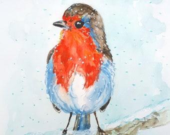 "Original illustration ""Little robin"" birdl art,bird painting,cute bird,robin,original illustration art,cute bird art,woodland,winter.snow"