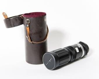 Minolta Soligor 90-230mm 4.5 Zoom Macro Telephoto Lens Full Frame 1970s Tokina Original Leather Case