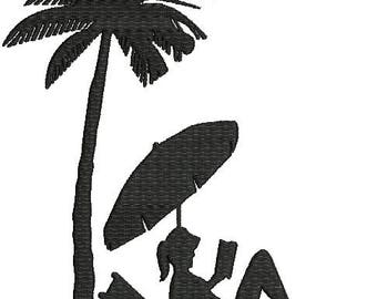 Relaxing at the Beach Palm tree  Machine Embroidery Design