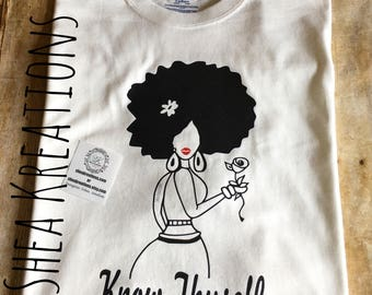 Know Thyself Tee T-shirt, Afro Lady Custom Graphic Tees, Unique Natural Hair Apparel, Popular Top Selling Items, Black WomanTee