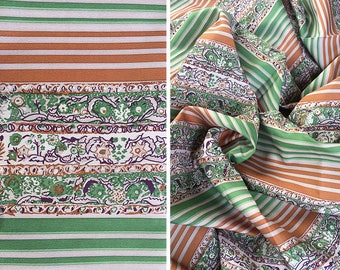 Vintage fabric by the yard | Vintage paisley print striped crepe de chine yardage destash