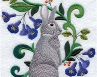 Rabbit Series Chinchilla Embroidered Towel | Flour Sack Towel | Linen Towel | Dish Towel | Kitchen Towel | Hand Towel | Rabbit Towel
