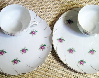 Rose Pattern China Snack Plates and Tea Cups, 4 pieces in all