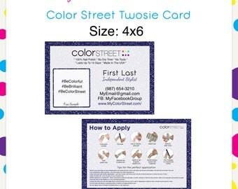 Color Street Twosie Navy Glitter 4x6 --Custom Digital Download