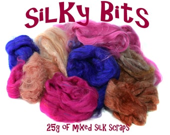 SILKY BITS - mixed silk scraps - Tussah - Mulberry - Hand Dyed - Sari - 25g - pink - purple
