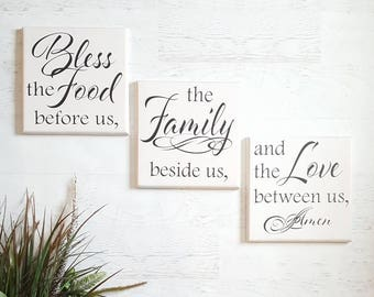Bless the Food Before Us, Rustic Wood Sign, Kitchen Decor, Dining Room Decor , Rustic Wood Signs, Kitchen Art, Blessed Sign, Prayer Sign