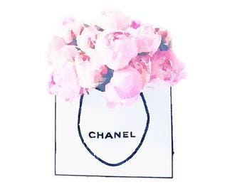 DIGITAL ART PRINT from Watercolor Painting, Chanel Shopping Bag of Pink Peonies Flowers, Fashion Illustration, Poster Wall Home Decor