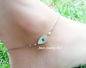 Silver leaf initial anklet with freshwater pearls