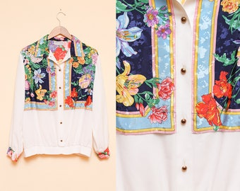 White Floral Blouse // Colorful Print Top // 1980s Beautiful Flower Loose Fit Silky Bohemian Shirt Size Large