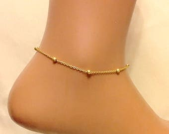 Gold Plated Ball Chain Anklet, Ankle Bracelet in Gold, Foot Jewelry, Body Jewelry, Beach Wear, Gold Jewelry, Gold Bracelet, Gift For Her,