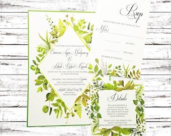 Wedding Invitation, Greenery Wedding Invitation, Green Wedding, Garden Wedding, Botanical Wedding, Invitation Set, Invitation Suite