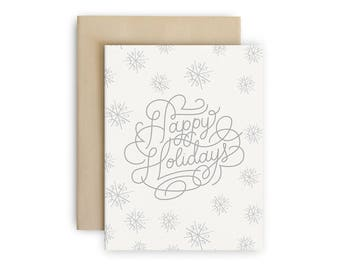 Set of 10 - Happy Holidays Greeting Cards - Silver Snowflakes